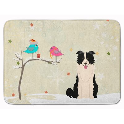 Christmas Border Collie Memory Foam Bath Rug Color: Black/White