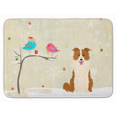 Christmas Border Collie Memory Foam Bath Rug Color: Red/White