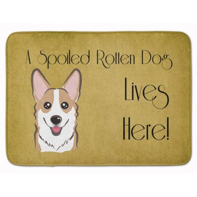 Sable Corgi Spoiled Dog Lives Here Memory Foam Bath Rug Color: Beige