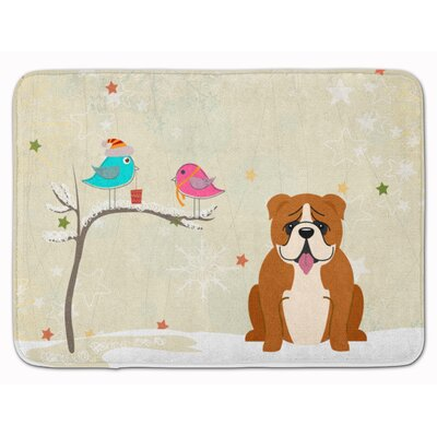 Christmas English Bulldog Memory Foam Bath Rug