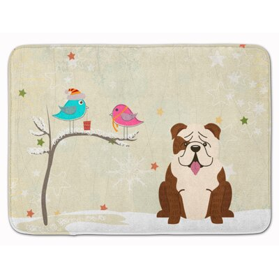 Christmas English Bulldog Brindle Memory Foam Bath Rug