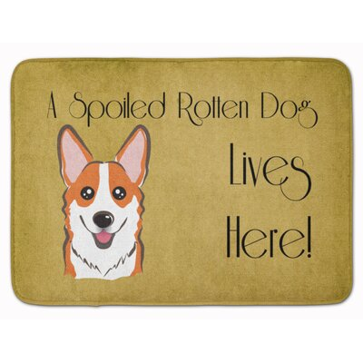 Sable Corgi Spoiled Dog Lives Here Memory Foam Bath Rug Color: Orange