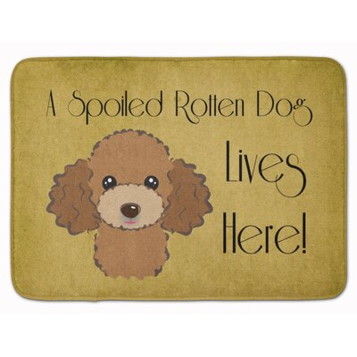 Poodle Spoiled Dog Memory Foam Bath Rug Color: Brown