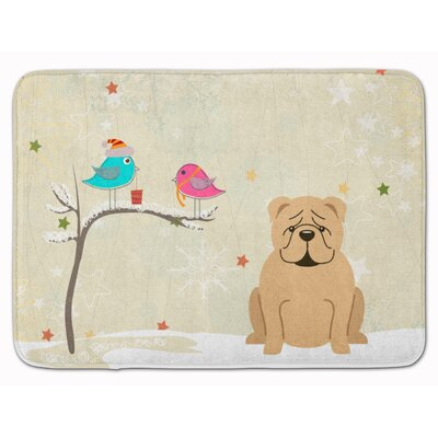 Christmas Presents English Bulldog Fawn Memory Foam Bath Rug