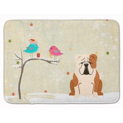 Christmas English Bulldog Fawn Memory Foam Bath Rug