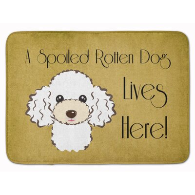 Poodle Spoiled Dog Memory Foam Bath Rug Color: White