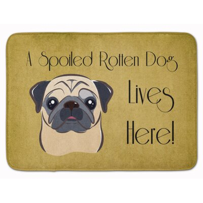 Fawn Pug Spoiled Dog Lives Here Memory Foam Bath Rug