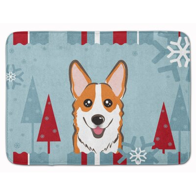 Winter Holiday Sable Corgi Memory Foam Bath Rug Color: Red