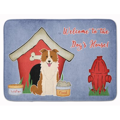 Dog House Border Collie Memory Foam Bath Rug Color: Red/White