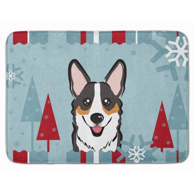 Winter Holiday Corgi Memory Foam Bath Rug