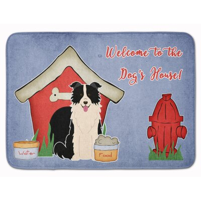 Dog House Border Collie Memory Foam Bath Rug Color: Black/White