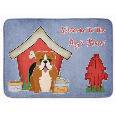Dog House English Bulldog Memory Foam Bath Rug Color: Red/White