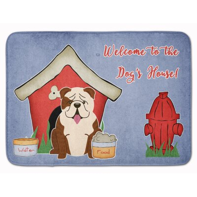Dog House English Bulldog Memory Foam Bath Rug Color: White