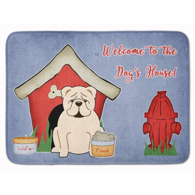 Dog House English Bulldog Memory Foam Bath Rug Color: White
