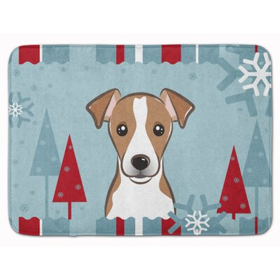 Winter Holiday Jack Russell Terrier Memory Foam Bath Rug Color: Brown/White