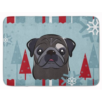 Winter Holiday Pug Memory Foam Bath Rug
