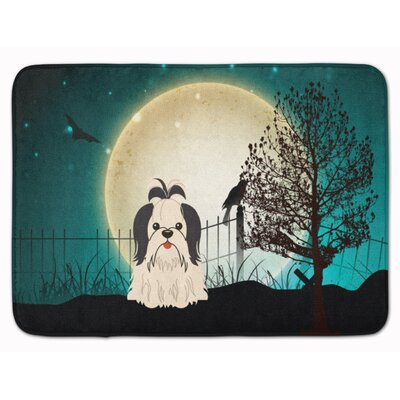 Halloween Scary Shih Tzu Memory Foam Bath Rug Color: Black/White