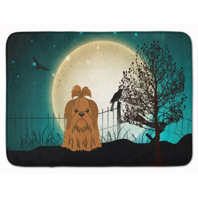 Halloween Scary Shih Tzu Memory Foam Bath Rug Color: Chocolate