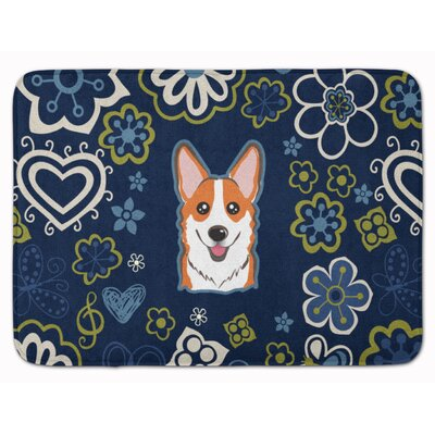Flower Sable Corgi Memory Foam Bath Rug Color: Orange