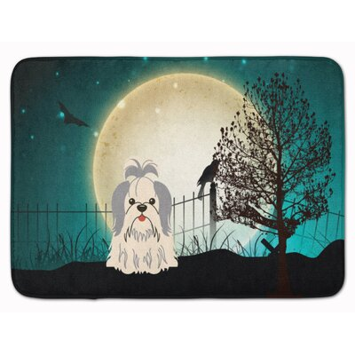 Halloween Scary Shih Tzu Memory Foam Bath Rug Color: Silver/White