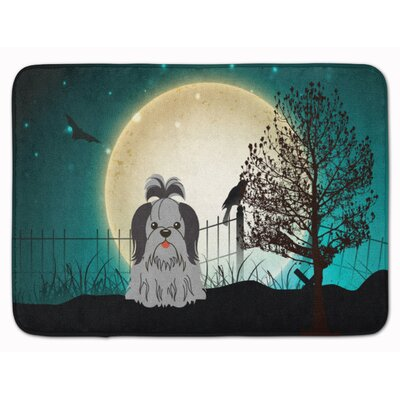 Halloween Scary Shih Tzu Memory Foam Bath Rug Color: Black/Silver