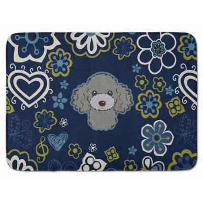 Flower Poodle Memory Foam Bath Rug Color: Silver
