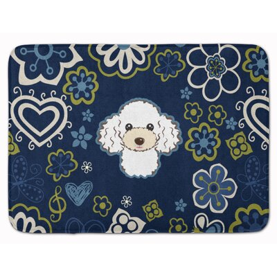 Flower Poodle Memory Foam Bath Rug Color: White