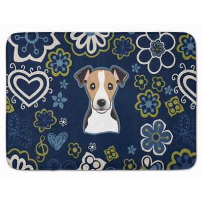 Flower Jack Russell Terrier Memory Foam Bath Rug Color: Black/Brown