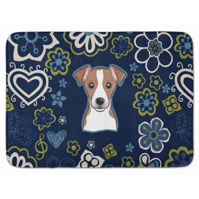 Flower Jack Russell Terrier Memory Foam Bath Rug Color: Brown/White