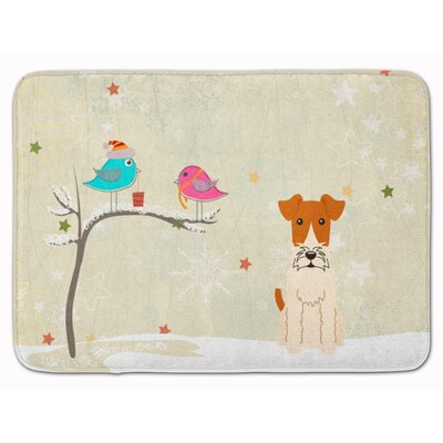Christmas Presents Wire Fox Terrier Memory Foam Bath Rug
