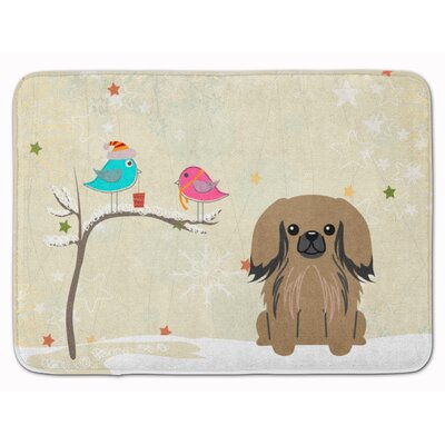 Christmas Presents Pekingese Memory Foam Bath Rug Color: Tan