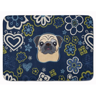 Blue Flower Fawn Pug Memory Foam Bath Rug Color: Cream