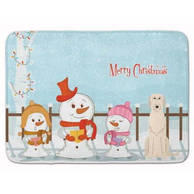 Merry Christmas Irish Wolfhound Memory Foam Bath Rug