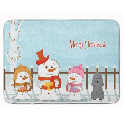 Merry Christmas Carolers Poodle Memory Foam Bath Rug Color: Silver