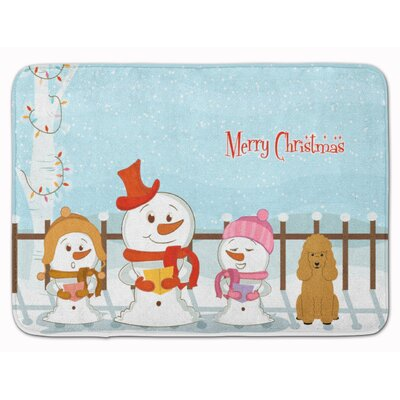 Merry Christmas Carolers Poodle Memory Foam Bath Rug Color: Tan