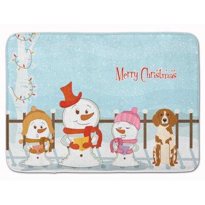 Merry Christmas Brittany Spaniel Memory Foam Bath Rug