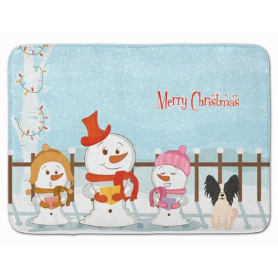 Merry Christmas Papillon Memory Foam Bath Rug Color: Black/White
