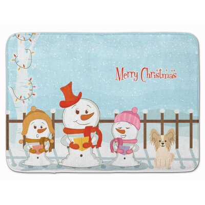 Merry Christmas Papillon Memory Foam Bath Rug Color: Sable/White