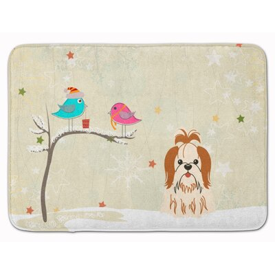 Christmas Presents Shih Tzu Memory Foam Bath Rug Color: Beige/Red