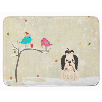 Christmas Presents Shih Tzu Memory Foam Bath Rug Color: Black/White