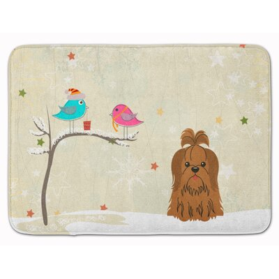 Christmas Presents Shih Tzu Memory Foam Bath Rug Color: Chocolate