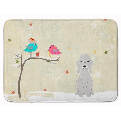 Christmas Bedlington Terrier Memory Foam Bath Rug Color: Blue