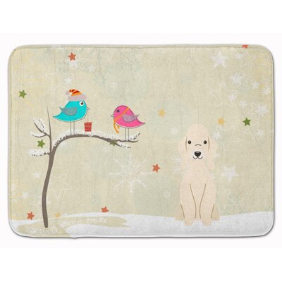 Christmas Bedlington Terrier Memory Foam Bath Rug Color: Cream
