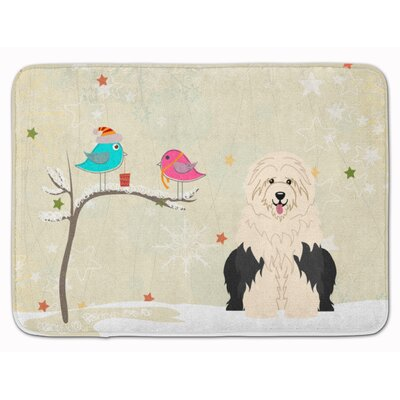 Christmas Presents Old English Sheepdog Memory Foam Bath Rug