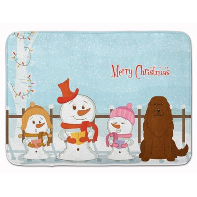 Merry Christmas Caucasian Shepherd Dog Memory Foam Bath Rug