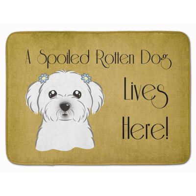 Maltese Spoiled Dog Lives Here Memory Foam Bath Rug