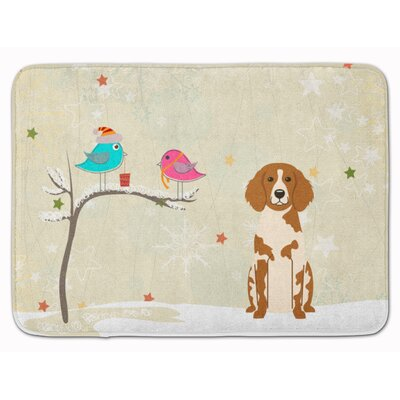 Christmas Presents Brittany Spaniel Memory Foam Bath Rug
