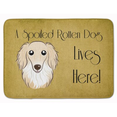 Cobby Long Hair Dachshund Spoiled Dog Memory Foam Bath Rug Color: Cream