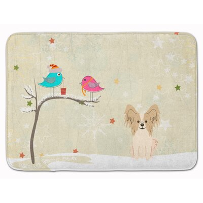 Christmas Presents Papillon Memory Foam Bath Rug Color: Beige