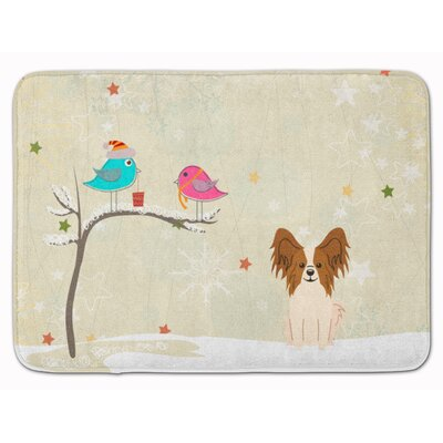Christmas Presents Papillon Memory Foam Bath Rug Color: Beige/Red